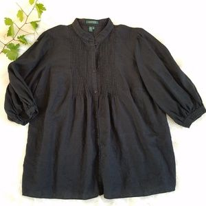 Lauren Ralph Lauren Black Linen Pintuck Tunic Top